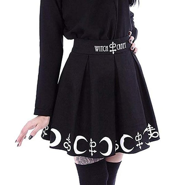 #Z20 Women Gothic Punk skirts womens with design summer skirts womens Witchcraft Moon Magic Spell Symbols Black Mar Skirt