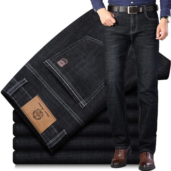 Large Size 40 Classic Style Men's Business Jeans 2021 New Fashion Small Straight Stretch Denim Trousers Male Brand Pants,1893