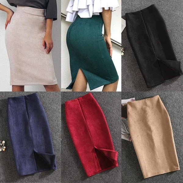 10 Colors Women Skirts Plus Size Knee-Length Pencil Skirt Female Vintage Suede Split Skirts Jupe Femme Faldas Mujer