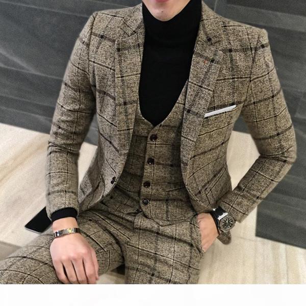 3 Piece Suits Men British Latest Coat Pant Designs Royal Suit Autumn Winter Thick Slim Fit Plaid Wedding Dress Tuxedos Mens Suit