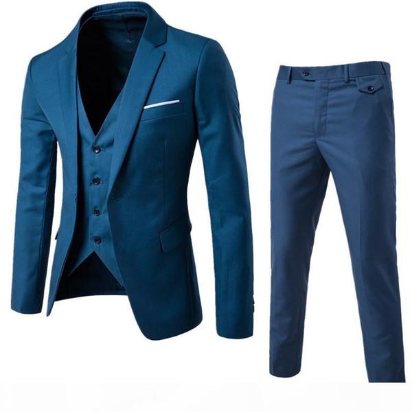 Men Wedding Suit Male Blazers Slim Fit Suits For Men Costume Business Formal Party Blue Classic Black (Jacket+Pant+Vest)