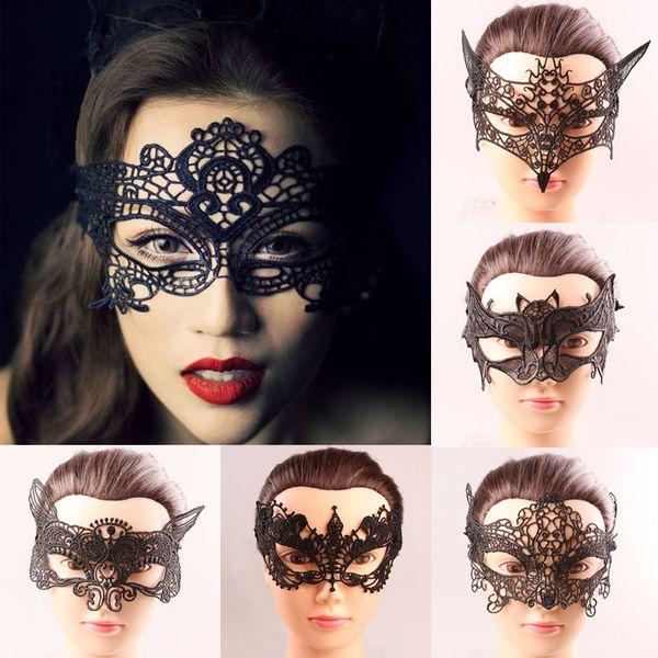 Black Hollow Lace Halloween Eye Mask