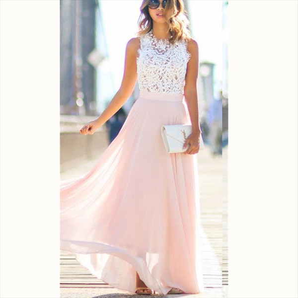 Elegant Women Dress Formal Lace Summer Long Maxi Dress Prom Evening Party Bridesmaid Wedding Plus Size S XXL