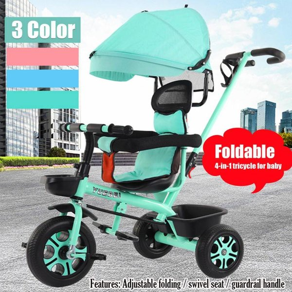 4 In 1 Infant Tricycle Folding Rotating Seat Baby Stroller 3 Wheel Bicycle Kids Bike Three Wheel Stroller Toddler Baby Trolley