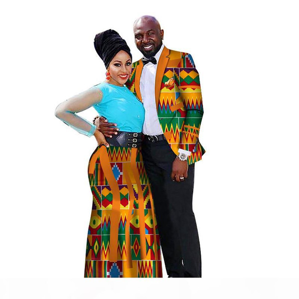 2019 Fashion African Couple Wedding Clothing Dashiki Women drerses & Men shirt for Lovers Casual loose Traditional Clothing WYQ66
