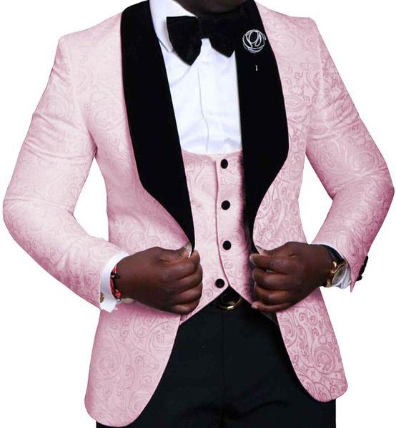 Pink Mens Suits 3 Pieces Floral Jacquard Black Shawl Lapel Groomsmen Tuxedos for Wedding Suits Men (Blazer+vest+Pants)