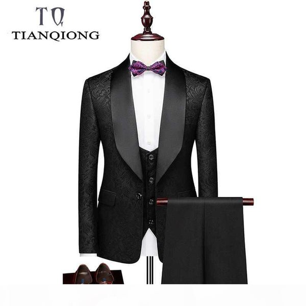 TIAN QIONG New Fashion Brand Blazers Men Suit Jacket Casual Slim Fit Prom Groom Business Host Wedding Printing Suit Tuxedos