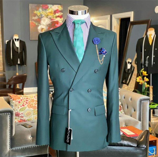 2 Piece Newest Green Men Suits Cotton High Quality Double Breasted Formal Wedding Tuxedos Customized Fit Formal Lapel Coat+Pant