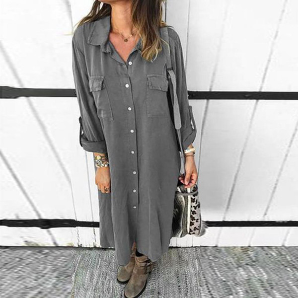 #H40 Solid Color Long Sleeve Shirt Dress Women Fashion Buttoned Pocket Summer Dress Casual Loose Dresses Vestido Streetwear