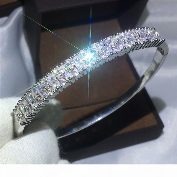 2017 Fashion Baguette Cuff Bridal bracelet Diamond s925 Silver Filled Engagement Bangle for women wedding accessaries