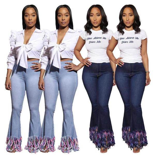 2020 Woman Trousers Denim Autumn Winter Casual Sexy Streetwear Slim Newest Tassels