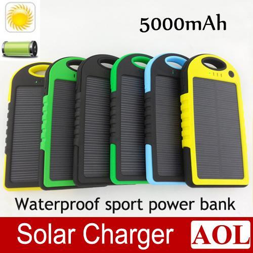 DHL бесплатно 5000mAh Солнечное зарядное устройство батареи панели солнечных батарей и водонепроницаемый ударопрочный портативный банк силы для мобильного сотового телефона для ноутбука камеры MP4
