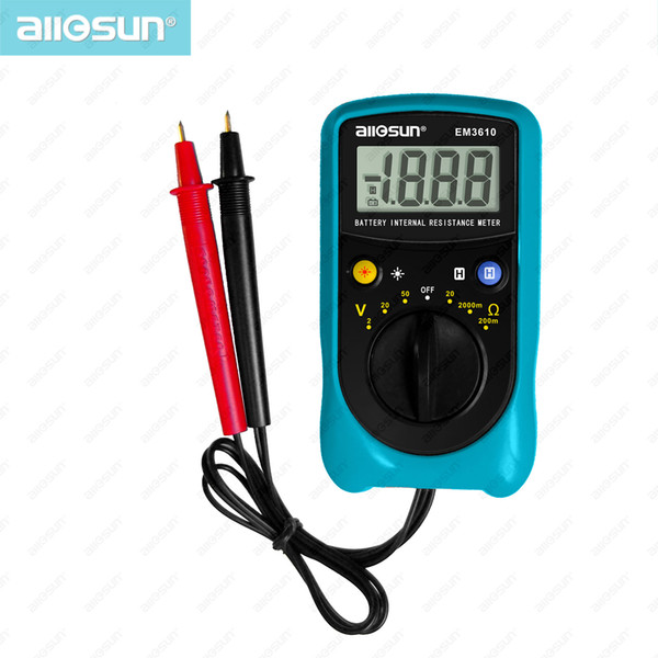 Portable Battery Voltage Meter Battery Internal Resistance Tester Pro Ohm Meter High Accuracy Battery Voltage Tester All-Sun model EM3610