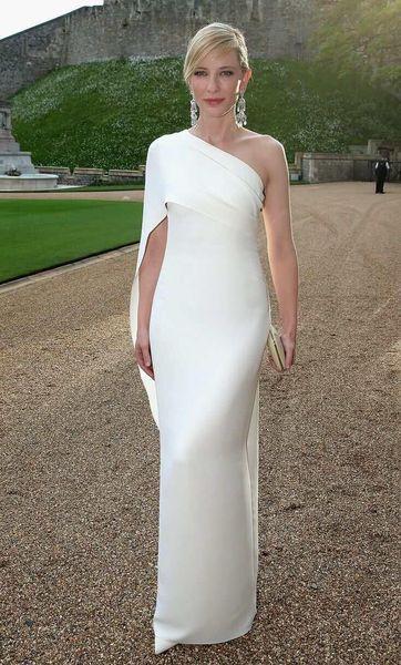Cate blanchett white evening dre e heath one houlder taffeta floor length dre ruffle elegant prom dre zipper evening gown