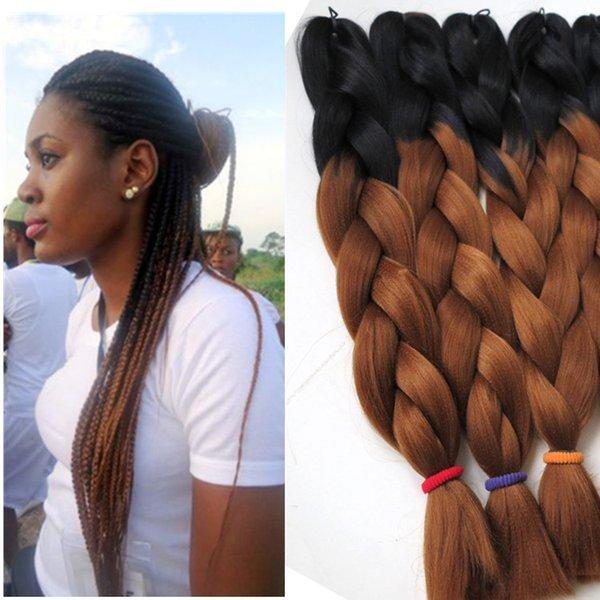 Ombre Kanekalon Jumbo intrecciare i capelli sintetici 24inch 100g BlackAuburn marrone due colori tono trecce jumbo Hair Extensions Più colori