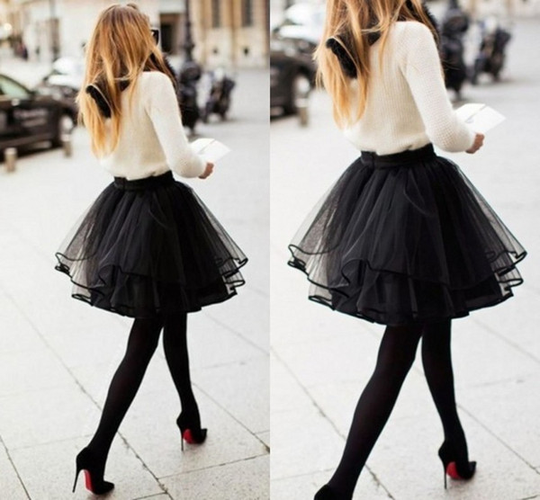 2015 Black Sexy Short Skirts Custom Made Free Size 3 Layers Tutu Tulle Cheap Skirts with Ribbon Edge Night Club Daily Women Clothing