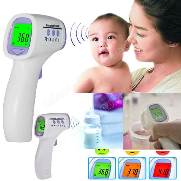 Multi-funzione Digital senza contatto a infrarossi della fronte il termometro con Tre colori retroilluminazione # 6324