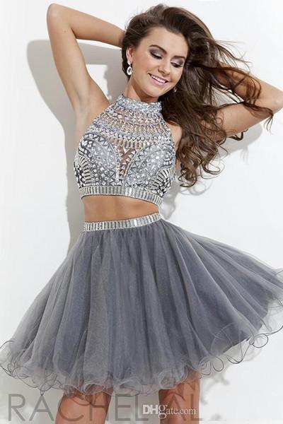 2015 Blingbling Dos Piezas Vestidos de Fiesta Vestidos de baile con cuentas Crystlas tul Mini Vestidos de coctel atractivos CPS175