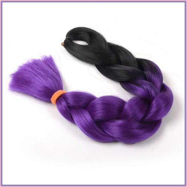 Dos tonos Ombre sintético Braiding Graneles pelo, Ombre Kanekalon trenzas de cabello doblado Longitud 24inch, suave trenza Super Jumbo haces de pelo sintéticos