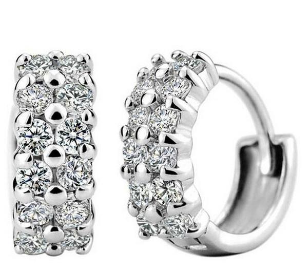 Женская корейская мода стерлингового серебра 925 пробы с двумя бриллиантами серьг фото