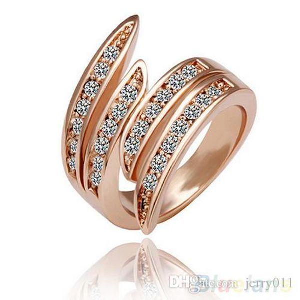 Партия ювелирных изделий обручальные кольца для женщин 9 K розовое золото покрытием горный хрусталь Кристалл кольцо 1OLK