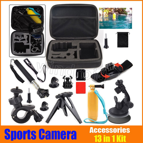 Cheap 13 in 1 GoPro Accessories Set Go pro sports camera Hero 4 3+ 3 2 Remote Wrist Strap Travel Kit Accessories + shockproof carry case 30