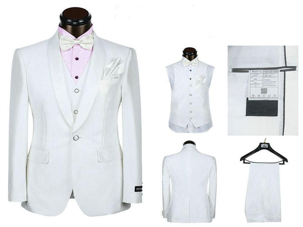 5 шт. белый костюм жених смокинги Шаль лацкан одна кнопка женихи мужчины свадьба Праздничная одежда на заказ (куртка + брюки + галстук + жилет + платок)