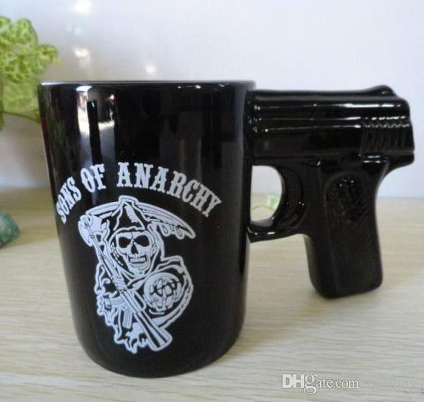 free shipping novelty drinking mug sons of anarchy gun handle coffee mug pistol mugs ceramic coffee