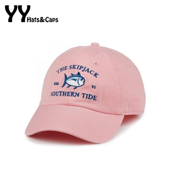 2016 New Mmvi Southern Tide Fish Embroidery Baseball Cap Bone Snapback Women Men Summer Adjustable Track Golf Sun Hat Casquette
