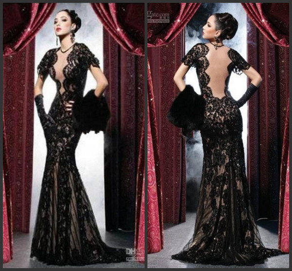 New black evening dre e backle lace prom party gown heath mermaid heer crew illu ion open back weep train pageant gown pring