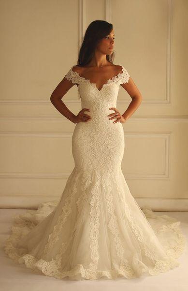 Elegante 2015 vestidos de noiva sereia V-Neck vestidos de noiva sexy do laço apliques de alta qualidade vestido de noiva mangas SX226