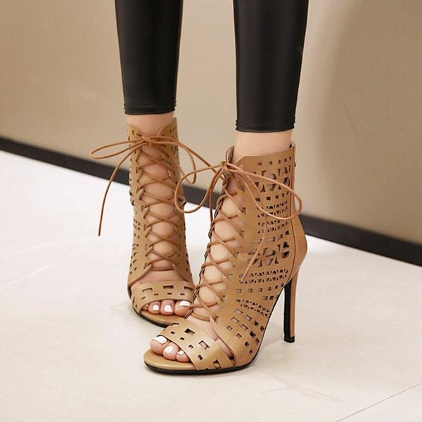 Fashio Sale Big Small Size 33-48 Sandals Quality Leather High Heel Women Boots Party Shoes X1269-3