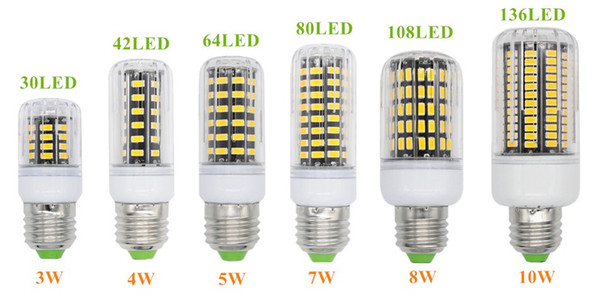 E27 E26 E14 GU10 G9 B22 LED Light Office Corn Bulb Super Bright 5733 SMD 7W/12W/18W/22W/25W/35W 136 LEDs Warm/White Via DHL