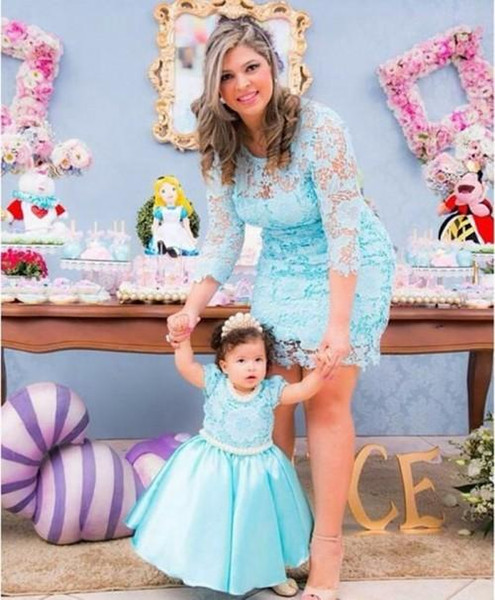 New 2018 mother and daughter dre e jewel neck lace zipper back wedding party gown lovely prince birthday gown