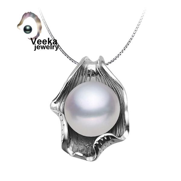 Collar de perlas con cadena de plata de ley 925