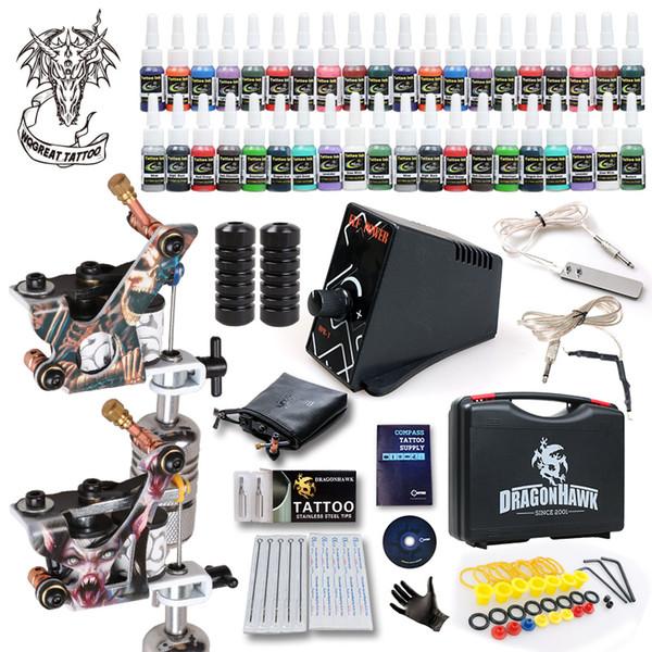 Kit Melhor Tattoo 2 Metralhadoras 40 Cor Tintas Power Grip Abastecimento Dica Needles em Box