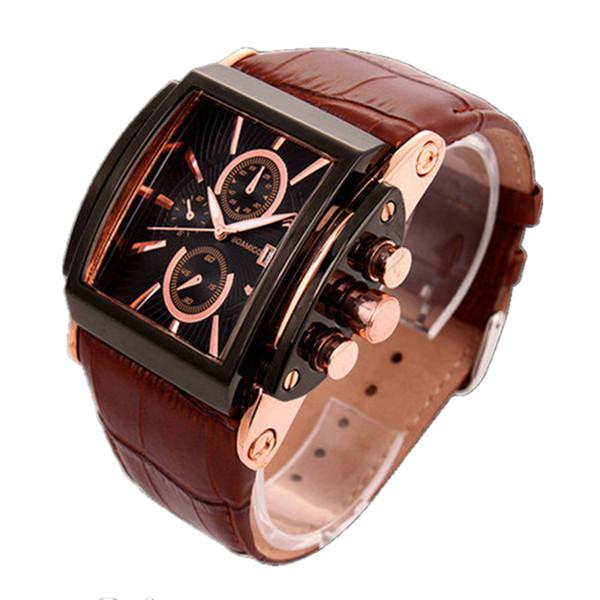 Miglior Sport Luxury orologi per gli uomini da polso cinghia di cuoio genuina maschio rettangolare Quadrante impermeabile Calendario Uomo quarzo Army orologio da polso
