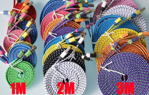 1m 2m 3m 3ft 6ft 10ft fabric braided noodle flat data  ync u b charging cable for  am ung htc lg  martphone mobile phone