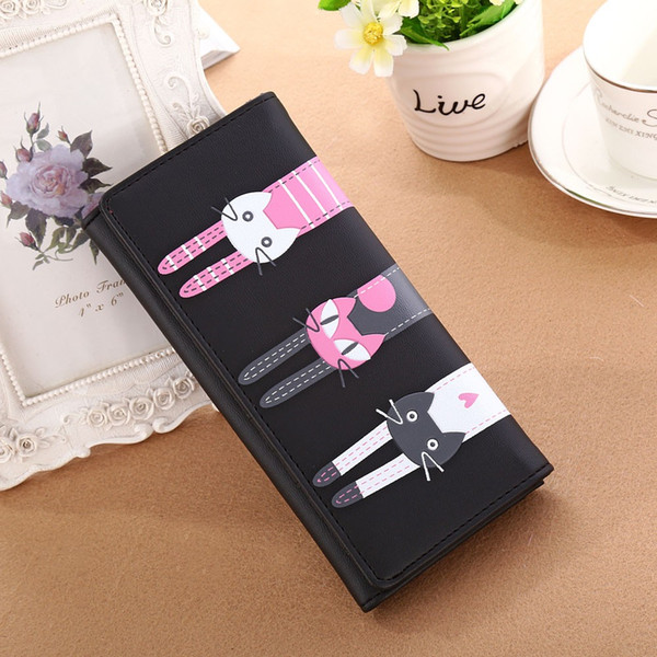 wholesale- cat wallet women wallets pu leather purse famous brands long style coin purses bolsa feminina bags girls (407425205) photo