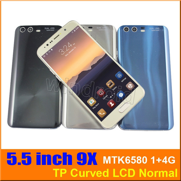 Curved Screen 9 9X 5.5 inch Android 6.1 Cell phone MTK6580 Quad Core 1+4GB Mobile Smart Phone 3G WCDMA unlocked Dual SIM camera S8 DHL 5pcs