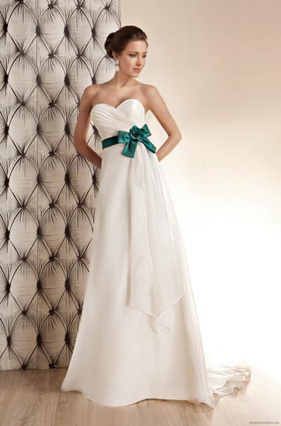 Шикарная Зеленая Лента Шифон Милая Свадебные Платья A-Line Одно Плечо Ручной Работы Цветок И