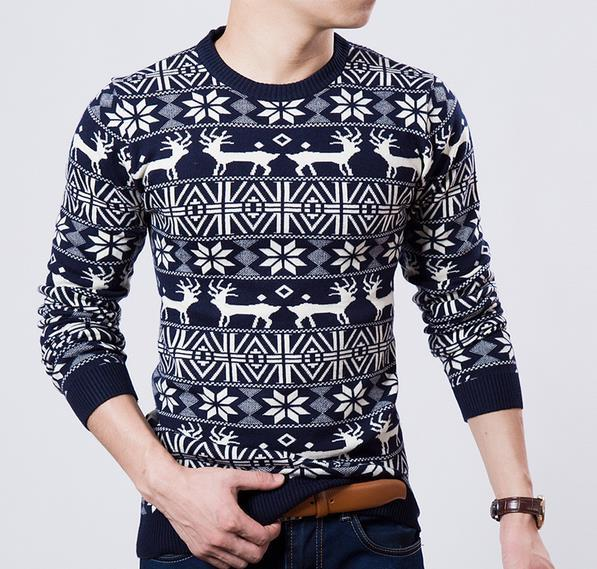 2015 New Fashion Brand Knitting cerf noël chandail hommes Slim Fit hommes chandails o-pull col traction homme hiver homme