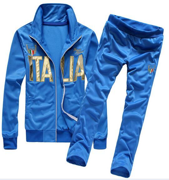 Estate sport Suit Sportwear 2015 nuovi uomini di modo Stampa Lettera Tute Collegio Coppia Jacket Set