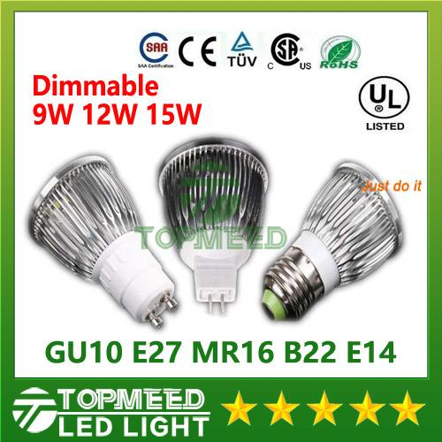 Dimmable CREE Led Lamp 9W 12W 15W MR16 12V GU10 E27 B22 E14 110-240V Led spot Light Spotlight led bulb downlight lighting