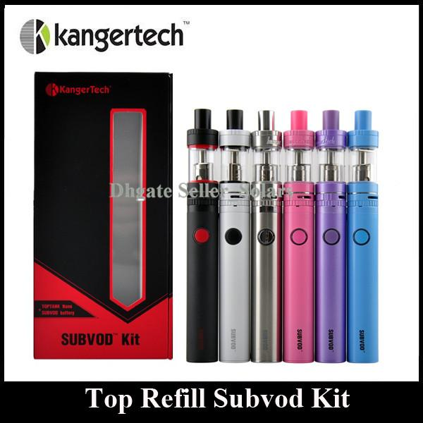 Аутентичные Kanger Subvod Starter Kit 1300mA С 3.2ml Top Refilling Toptank Nano Tank 0.5ohm Coil KangerTech
