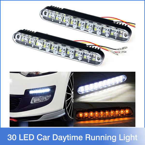 Горячие 2x 30 LED автомобилей дневного света DRL дневного света с поворотом огней Бесплатная доставка