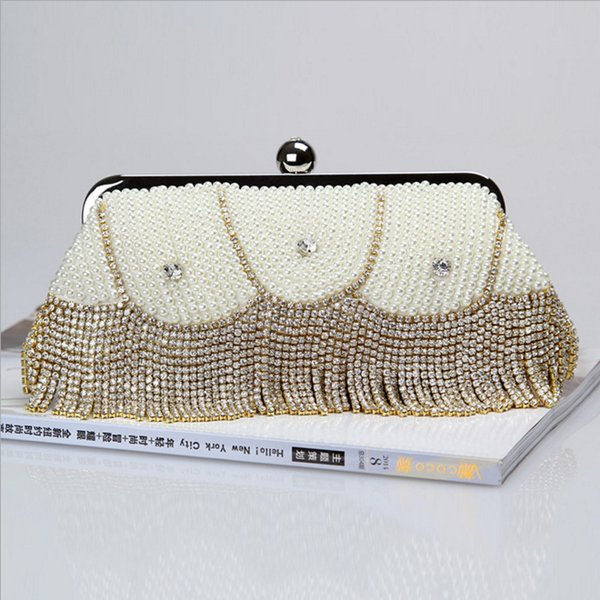 wholesale/factory brand new wellmade pretty diamond evening purse/beaded bag with satin for wedding/banquet/party/porm (270580560) photo