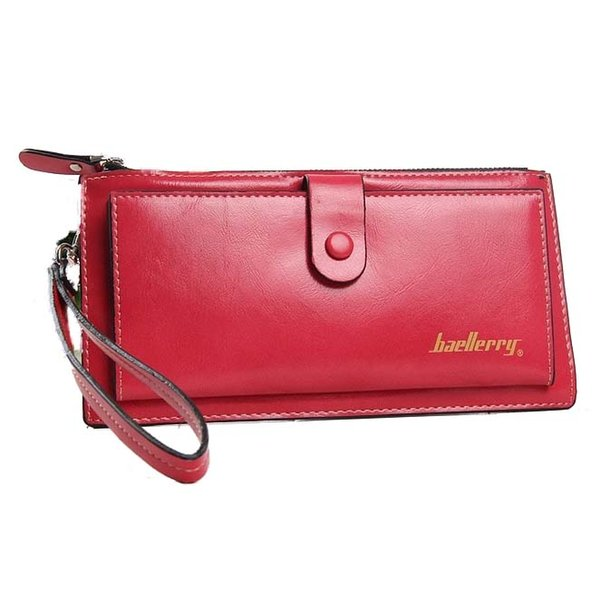 wholesale- baellerry female leather hand bag fashion wallets women coin purses wristlet bags with strap, watermelon red (407288902) photo
