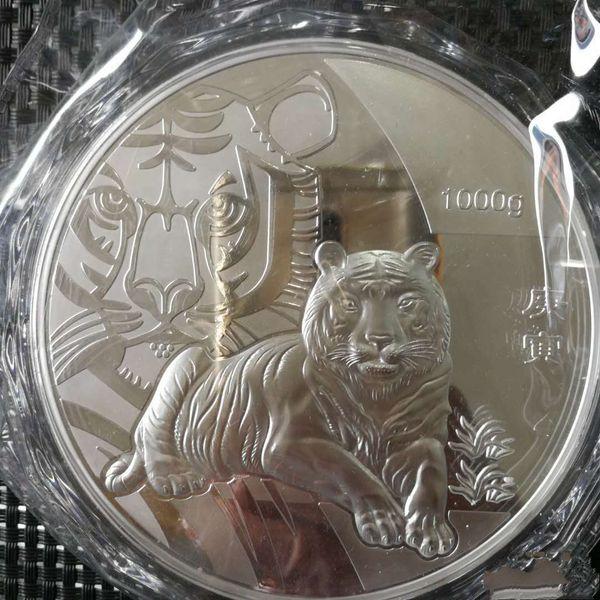 1кг-серебро-китай-монета 1000г-серебро-99-99-Zodiac-серебро-COINS-тигр фото