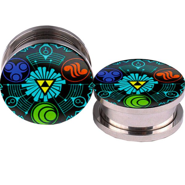 Legend Of Zelda Logo Ear Plugs calibre e túneis 5-16mm Flesh Túnel Plugs Piercing Expander plug plugue brincos Falso Orelha